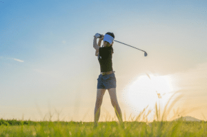 Women golfer backswing